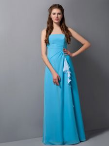 Simple Aqua Blue Strapless Floor-length 15 Dresses For Damas with Layers
