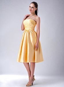 Special Gold Strapless Tea-length Quince Dama Dress with Bowknot in Boise