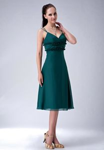 Modest Dark Green Tea-length Prom Dress For Dama with Spaghetti Straps