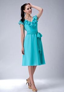 Popular Turquoise Ruffled V-neck Tea-length Dresses For Damas with Sash