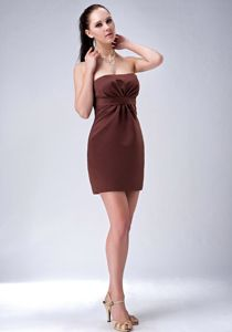 Brown Strapless Mini-length Prom Dresses For Damas with Ruche in Boston