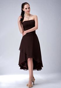 Elegant Brown Ruched Strapless High-low Quince Damas Dress in Burlington