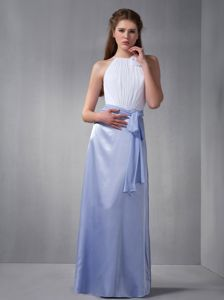 Ruched High-neck White and Lilac Long Prom Dress For Damas with Sash