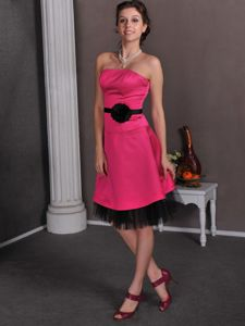 Inexpensive Zipper-up Hot Pink and Black 15 Dress For Damas with Flower