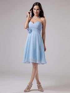 Lovely Sweetheart Knee-length Light Blue Dama Dress with Flowers in Erie