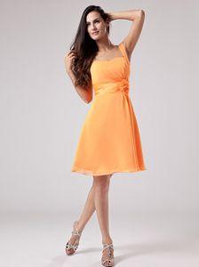 Simple Orange Red One Shoulder Knee-length Dress For Dama with Flower
