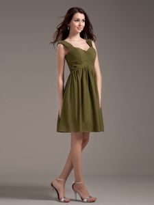 Elegant Olive Green Knee-length Quince Dama Dresses with Straps in Boise