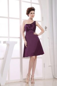 Dark Purple Sheath One-Shoulder Knee-Length Ruched Dress for Dama in Crieff