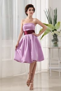 A-Line Knee-Length Strapless Dama Dress with Ruching and Belt in Violet in Perth