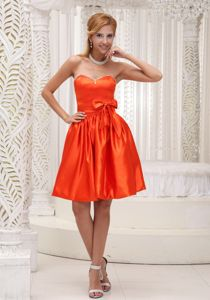 Orange Princess Sweetheart Dress for Dama with Beading and Bowknot in Montrose