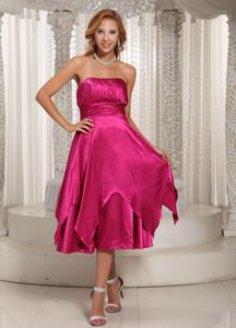 Princess Strapless Tea-Length Layered Bridesmaid Dama Dress in Fuchsia in Monifieth