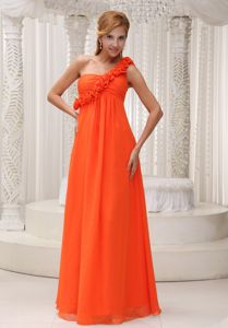 Orange Red Empire Asymmetrical-Shoulder Ruched Dama Dress with Flowers in forfar