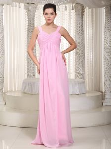 Baby Pink Empire Straps Floor-Length Ruched Dama Dress in Glendoick