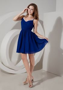 Royal Blue A-Line Spaghetti Straps Mini-Length Dama Dress in Monikie