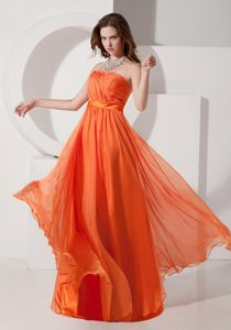 Empire Strapless Ruched Floor-Length formal Dress for Dama in Orange in Kinross