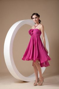 Empire Strapless Asymmetrical Train Dama Dress with Flower in Fuchsia in Forfar