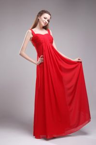 Red Empire Straps Floor-Length Ruched Prom Dress for Dama in Perth