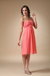 Watermelon Empire Knee-Length Bridesmaid Dress for Dama in Fetlar