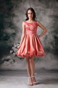 A-Line Mini-Length Coral Scoop Lace-up Dama Dress with Ruching in Evanton