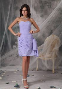 Clearance Sweetheart Lilac Ruched Short Quince Dama Dresses with Beads