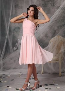 Custom Made One Shoulder Baby Pink Short Dresses for Damas in Style