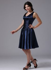 Modest Zipper-up V-neck Navy Blue Short Dama Dress in Florence USA