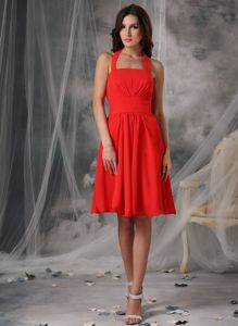 Affordable Zipper-up Halter Short Red Dama Dress for Quince under 100