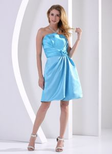2013 Beautiful Aqua Blue Short Quince Dama Dresses with Flower under 100