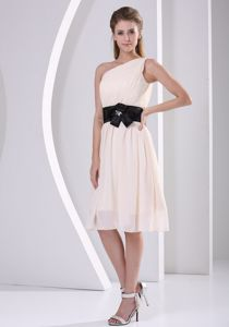 New Arrival One Shoulder Champagne Dama Quinceanera Dresses with Bow