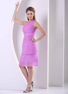 One Shoulder Lavender Chiffon Short Quinceanera Dama Dresses Factory