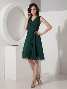 Affordable V-neck Dark Blue Short Chiffon Dama Dress under 100 in Eufaula AL