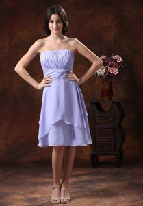 Modest Strapless Ruched Short Dama Dress for Quinceaneras in Lilac Online