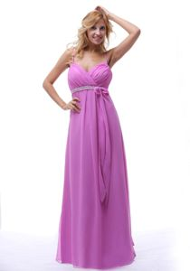 Cheap Spaghetti Straps Long Lavender Dama Quinceanera Dresses with Sash