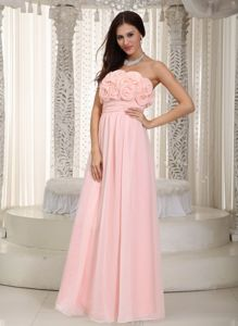 Strapless Baby Pink Long Chiffon Dresses for Damas with Flowers on Bodice