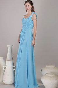 Baby Blue One Shoulder Floor-length Chiffon Ruched Damas Dresses For Quince