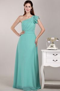 Turquoise One Shoulder Floor-length Chiffon Ruched Prom Dresses For Dama