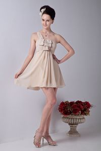One Shoulder Mini-length Chiffon Ruched 15 Dresses For Damas in Champagne