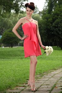 Coral Red Mini-length Chiffon Party Dama Dresses with Straps in Kirkland