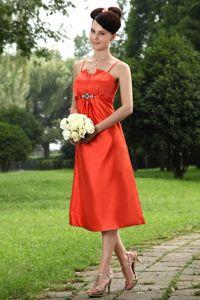 Newest Straps Beaded Orange Dama Dresses in Tea-Length in Walnut Creek