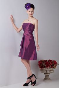Exquisite Strapless Ruched Knee-Length Quince Dama Dresses in Van Nuys