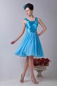 Gorgeous Aqua Blue Straps Ruched Knee-Length Party Dama Dresses in Vista