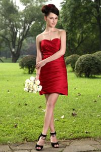 Sweetheart Wine Red Mini-Length Ruched Dama Dresses for Quince in Truckee