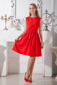 Simple Scoop Red Taffeta Party Dama Dresses in Knee-Length in Thousand Oaks
