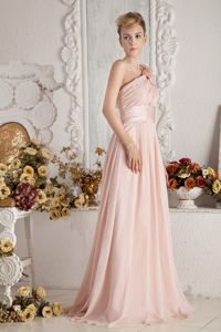 One Shoulder Baby Pink Chiffon Dama Dress with Brush Train in Redmond