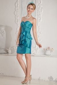 Teal Sweetheart Mini-length Taffeta 15 Dresses For Damas with Sash in Spokane