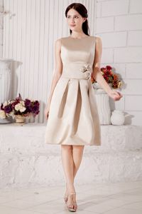 Modest Champagne Bateau Party Dama Dresses with Hand Flowers in Seattle