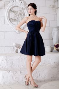 Navy Blue Ruched Strapless Mini-length Taffeta 15 Dresses for Damas in Redmond