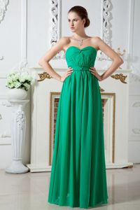 Green Sweetheart Ruched Floor-length Chiffon 15 Dresses For Damas in Kent