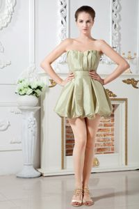 Olive Green Sweetheart Mini-length Taffeta Party Dama Dresses with Ruches