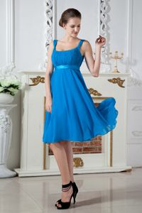 Knee-length Chiffon Ruched Prom Dresses For Dama in Teal in Olympia